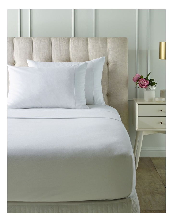 Plain Dye Flannelette Turkish Cotton Fitted Sheet in White image 1