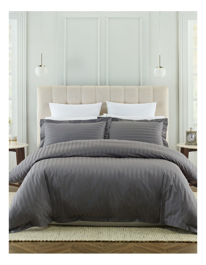 500TC Superior Cotton Quilt Cover Set in Charcoal image 1
