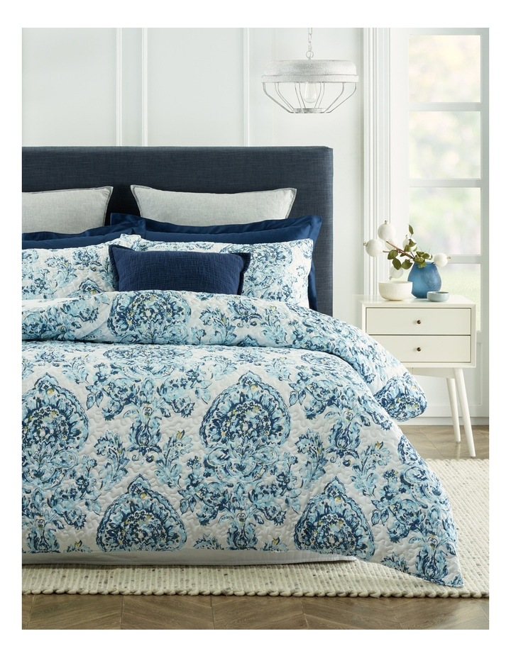 Cadiz Printed Quilted Quilt Cover Set in Blue Multi image 1