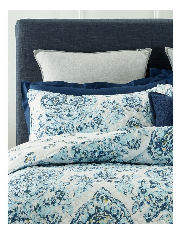 Cadiz Printed Quilted Quilt Cover Set in Blue Multi image 2