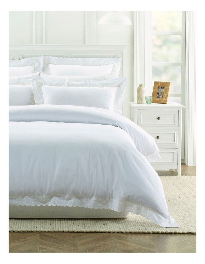 Vivant Broderie Quilt Cover Set in White image 1