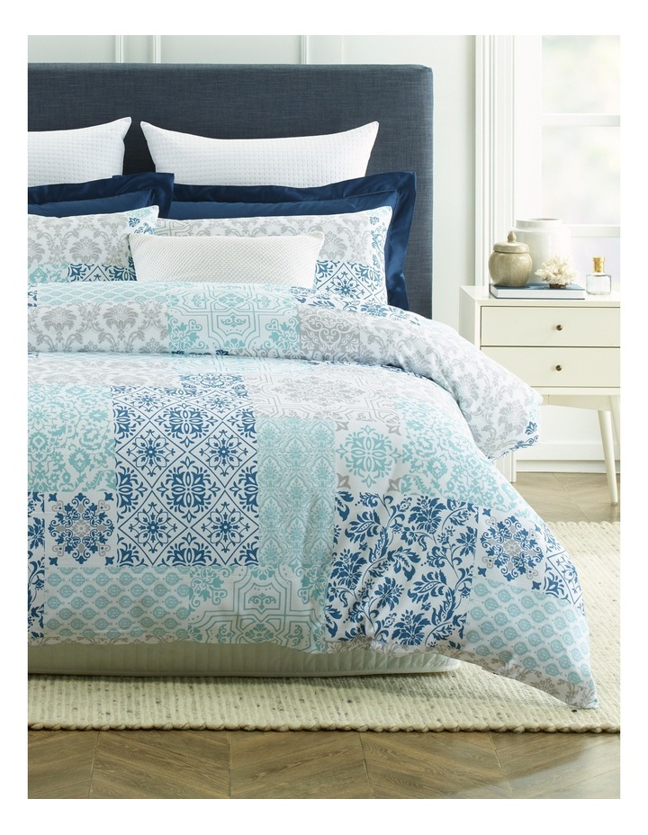 Carcasonne Printed Pique Quilt Cover Set in Blues image 1