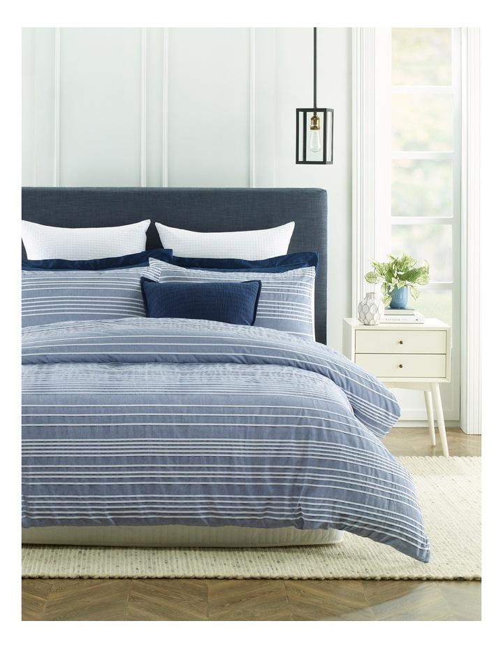 Rochefort Yarn Dyed Stripe Quilt Cover Set in Blue/White image 1