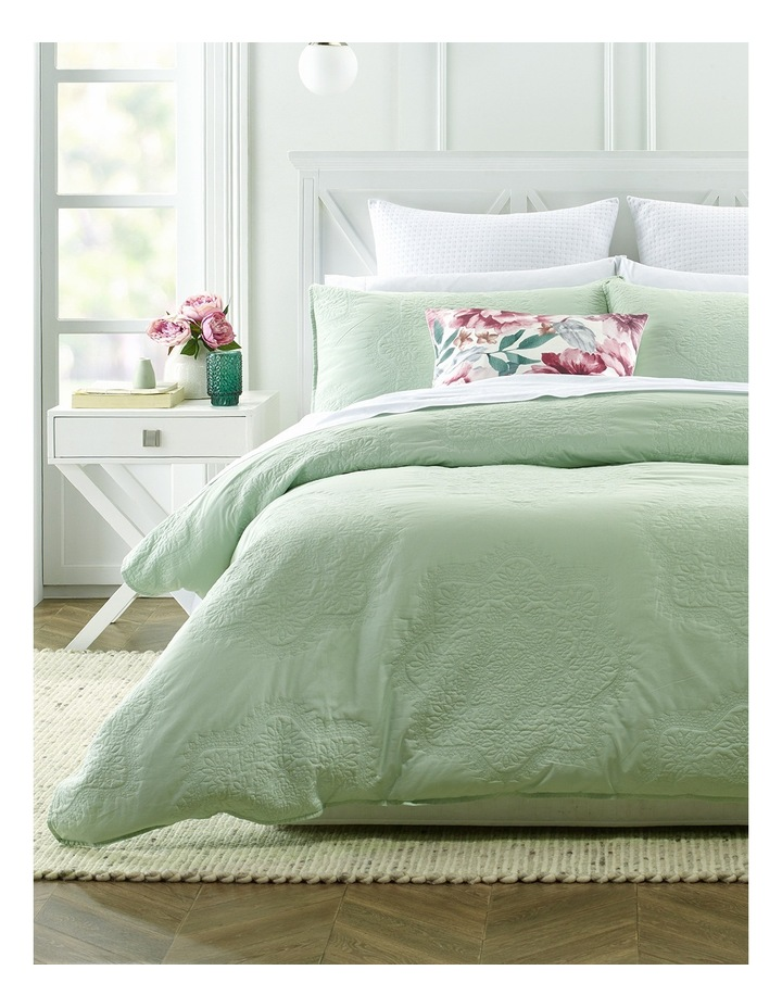 Lillefort Quilted Quilt Cover Set in Pale Aqua image 1