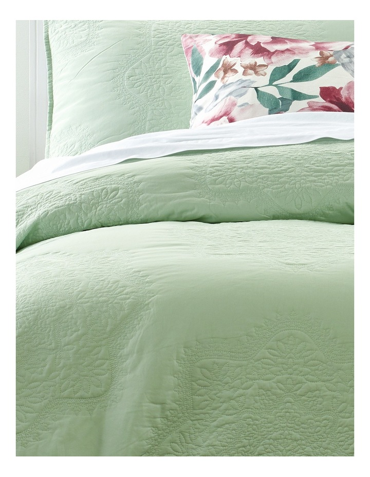 Lillefort Quilted Quilt Cover Set in Pale Aqua image 2