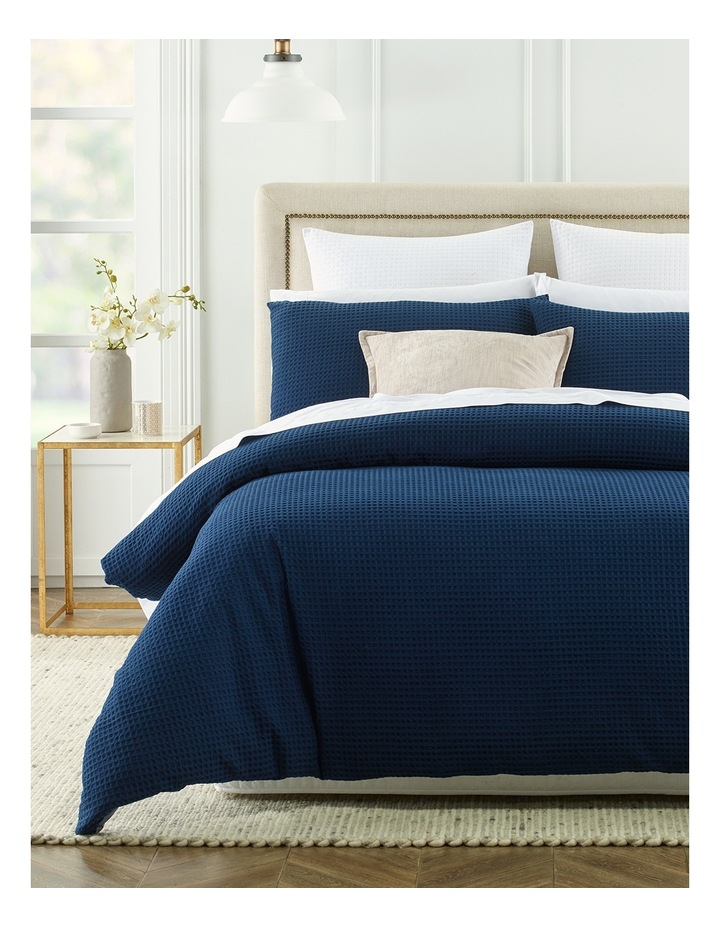 Eleonore Textured Cotton Waffle Quilt Cover Set in Navy image 1