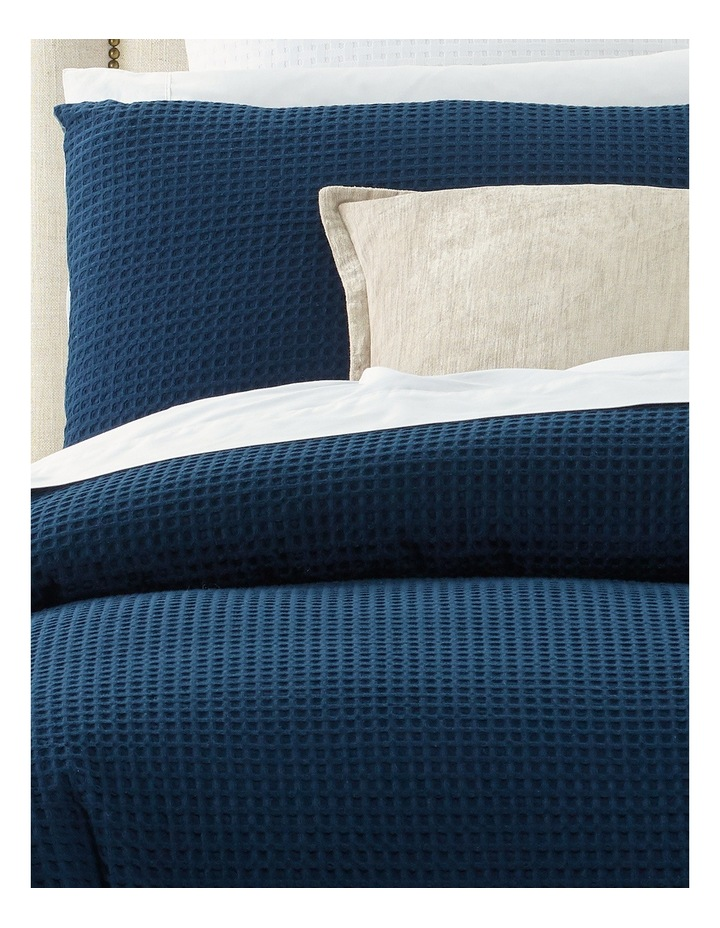 Eleonore Textured Cotton Waffle Quilt Cover Set in Navy image 2