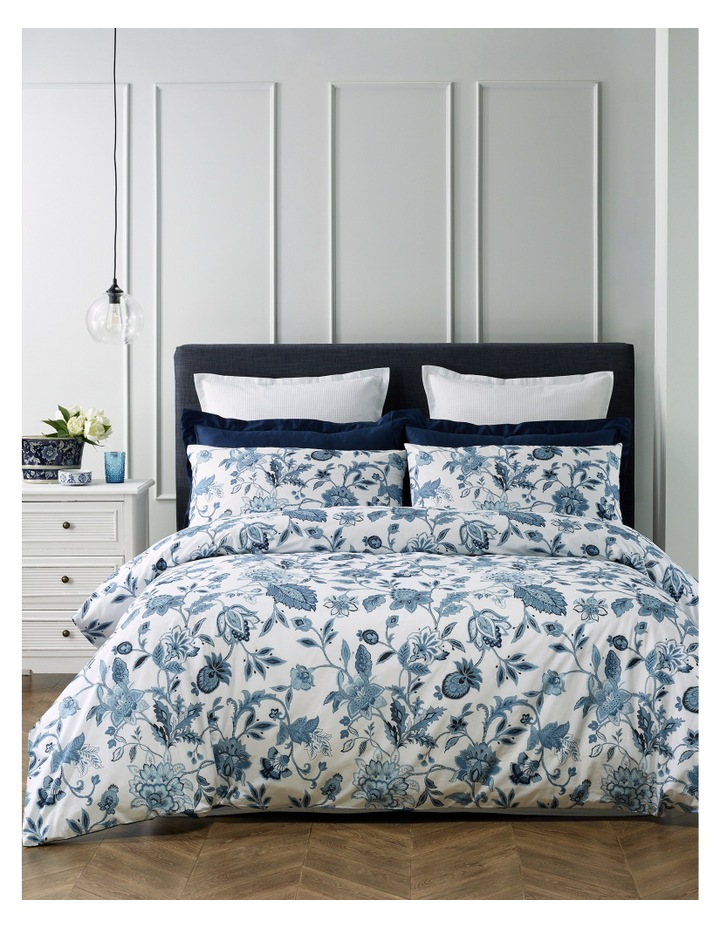 Vienna Cotton Quilt Cover Set in Blue image 1