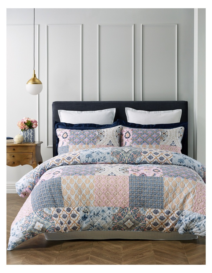 Eze Quilted Cotton Quilt Cover Set in Blue/Pink image 1