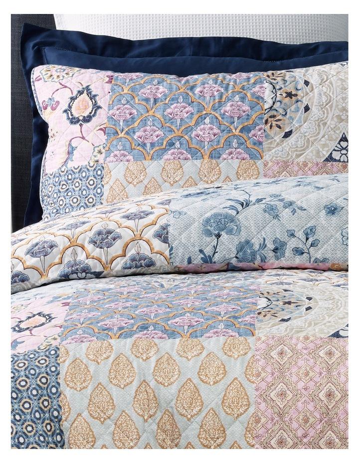 Eze Quilted Cotton Quilt Cover Set in Blue/Pink image 2