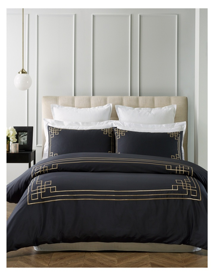 Maestro Embroidered Quilt Cover Set in Black/Gold image 1