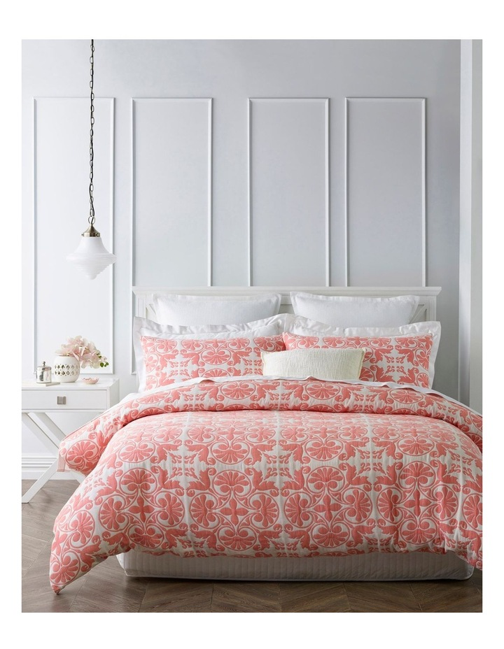 Riccio Jacquard Quilt Cover Set in Coral image 1