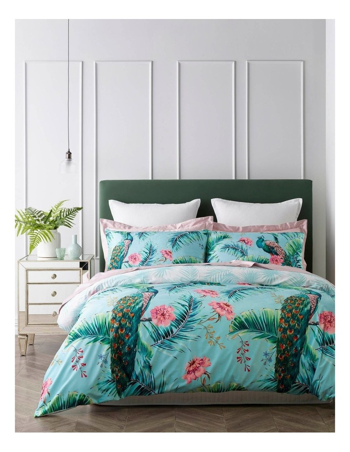 Elena Printed Quilt Cover Set in Pale Turquoise image 1