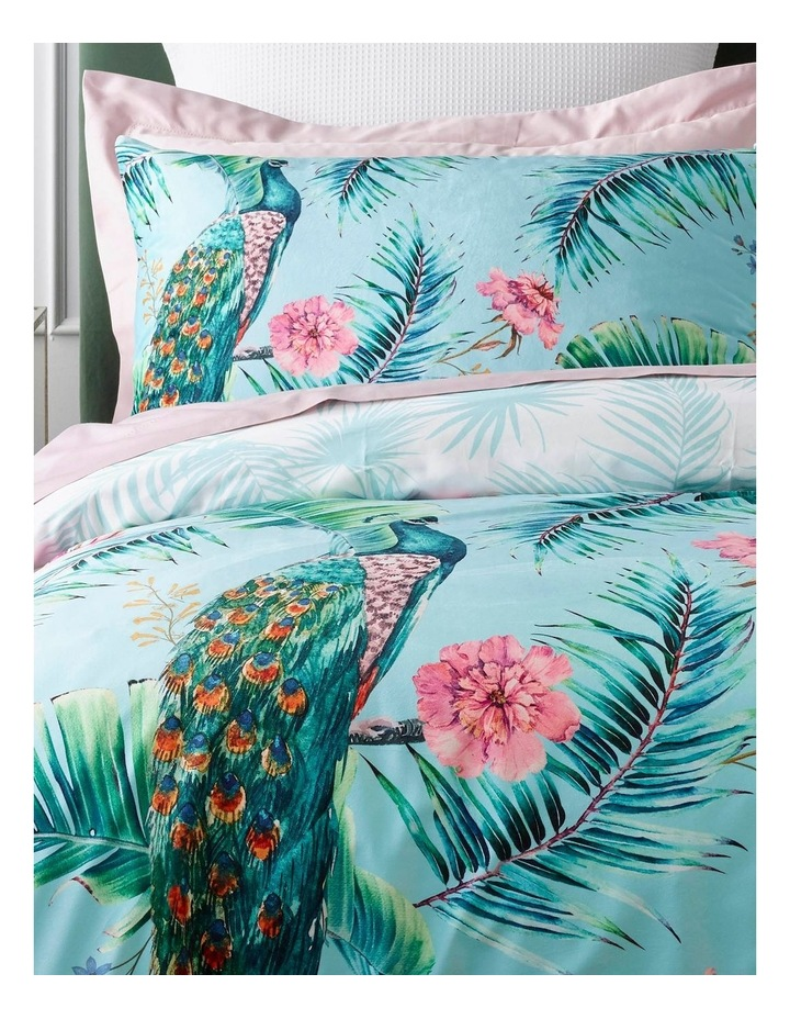 Elena Printed Quilt Cover Set in Pale Turquoise image 2