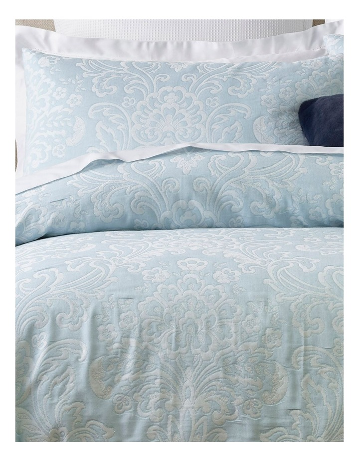 Mae Jacquard Quilt Cover Set in Sky Blue image 2