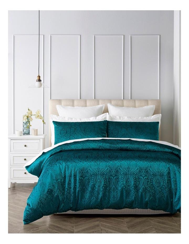 Aurora Embossed Velvet Quilt Cover Set in Green image 1