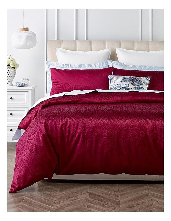 Aurora Embossed Velvet Quilt Cover Set in Berry image 1