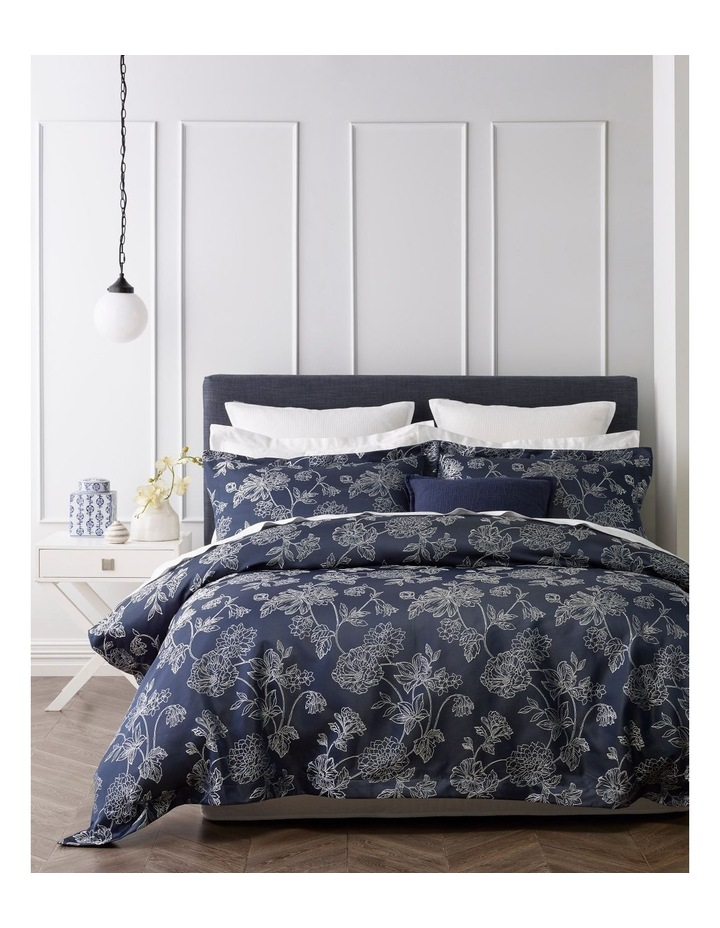 Kiku Quilt Cover Set in Navy image 1