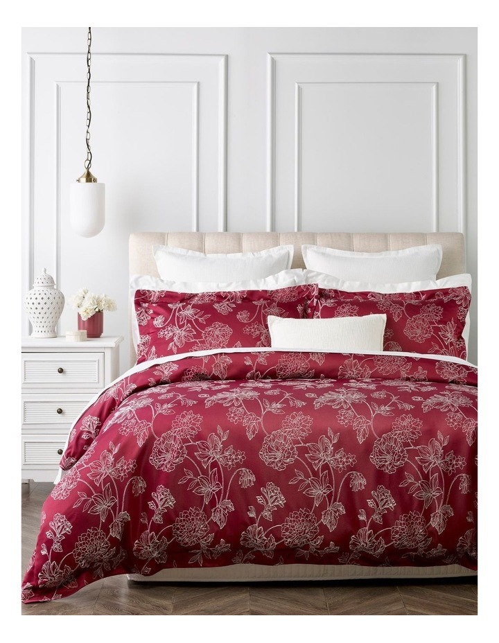 Kiku Quilt Cover Set in Berry image 1