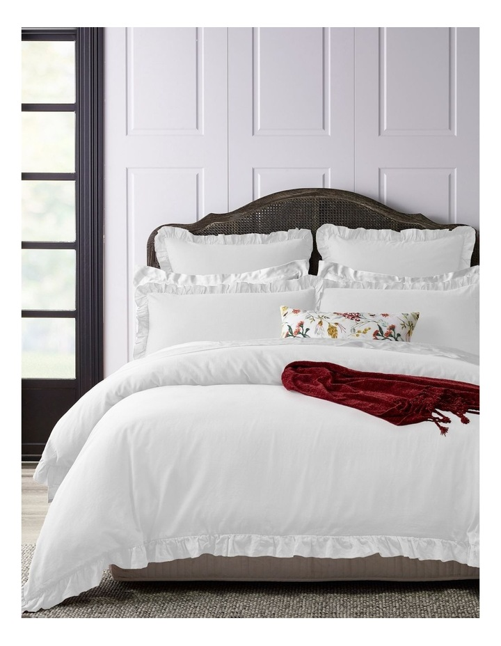Brielle Ruffled Edge Linen Cotton Quilt Cover Set in White image 1