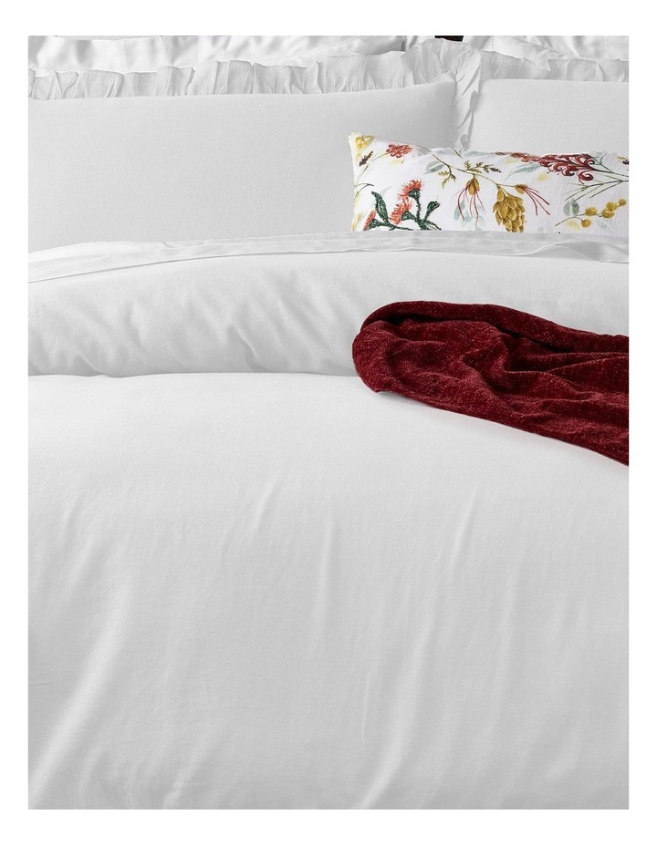 Brielle Ruffled Edge Linen Cotton Quilt Cover Set in White image 2