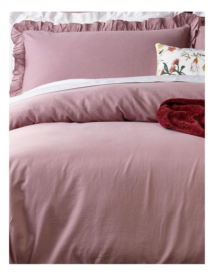 Brielle Ruffled Edge Linen Cotton Quilt Cover Set in Mauve image 2