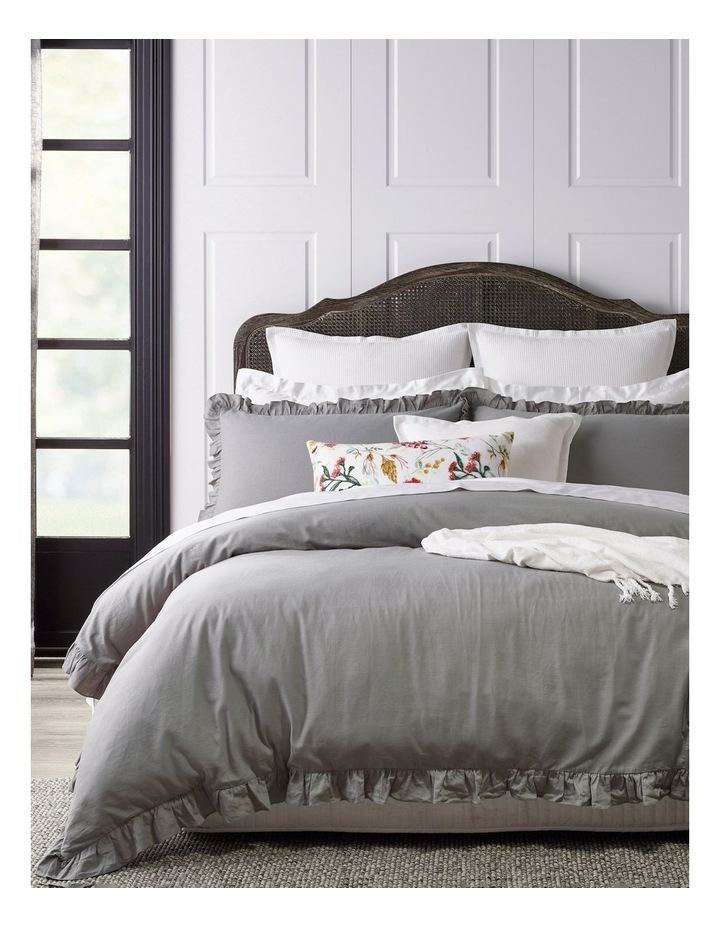 Brielle Ruffled Edge Linen Cotton Quilt Cover Set in Grey image 1