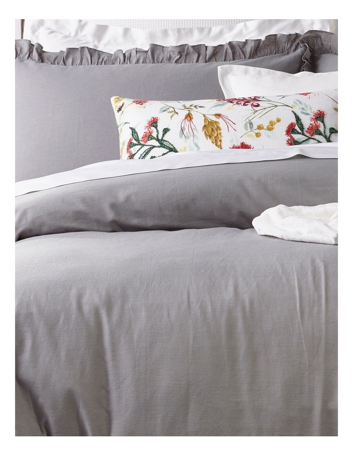 Brielle Ruffled Edge Linen Cotton Quilt Cover Set in Grey image 2
