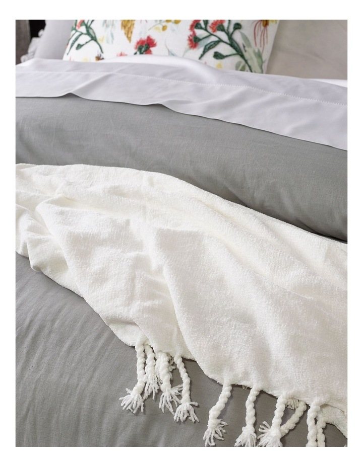 Brielle Ruffled Edge Linen Cotton Quilt Cover Set in Grey image 3