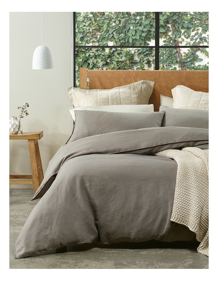 Sandy Cape Linen Quilt Cover Set in Charcoal image 1