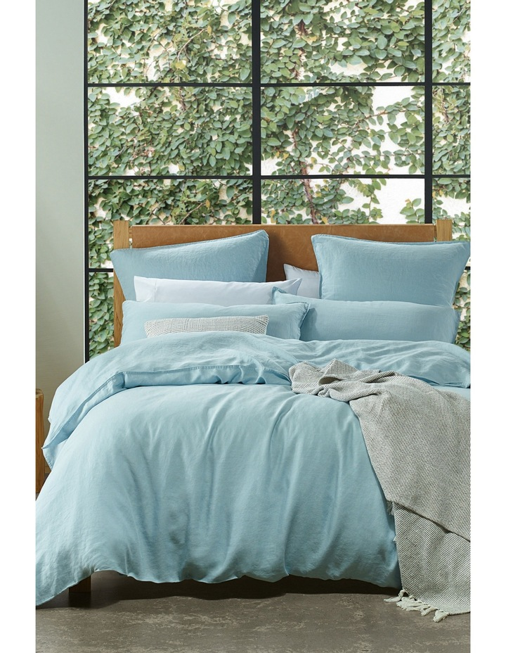 Sandy Cape Linen Quilt Cover Set in Blue image 1