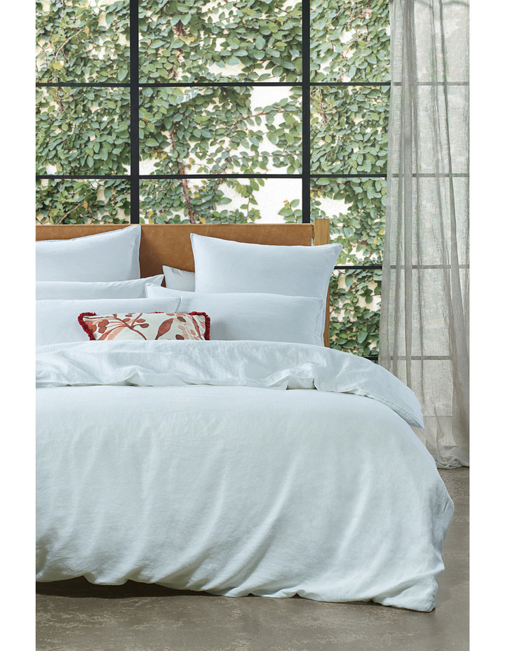 Sandy Cape Linen Quilt Cover Set in White image 1