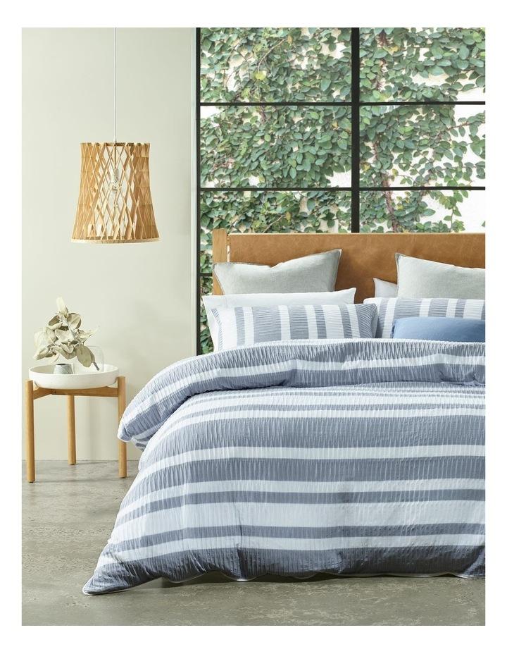 Iluka Yarn-Dye Stripe Quilt Cover Set in Navy image 1