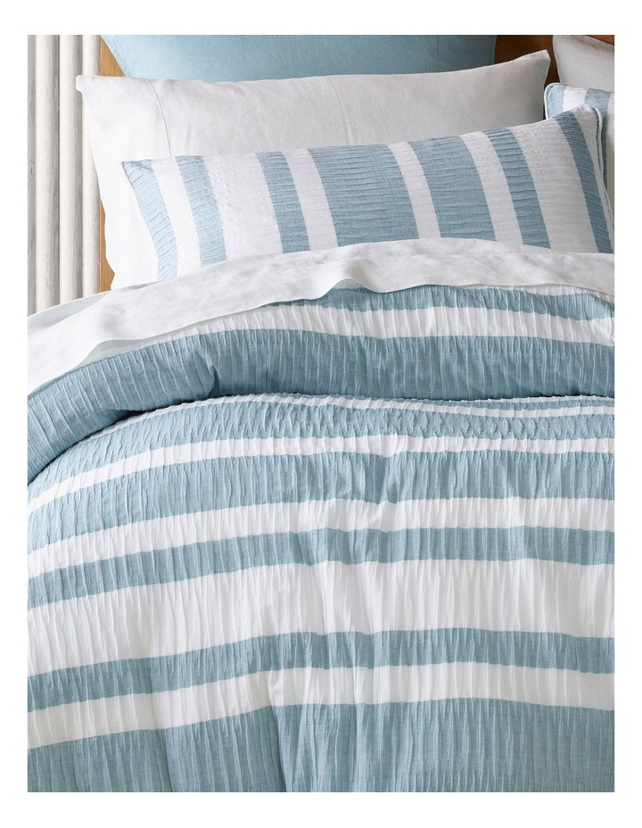 Iluka Yarn Dyed Stripe Quilt Cover Set in White/Grey image 2