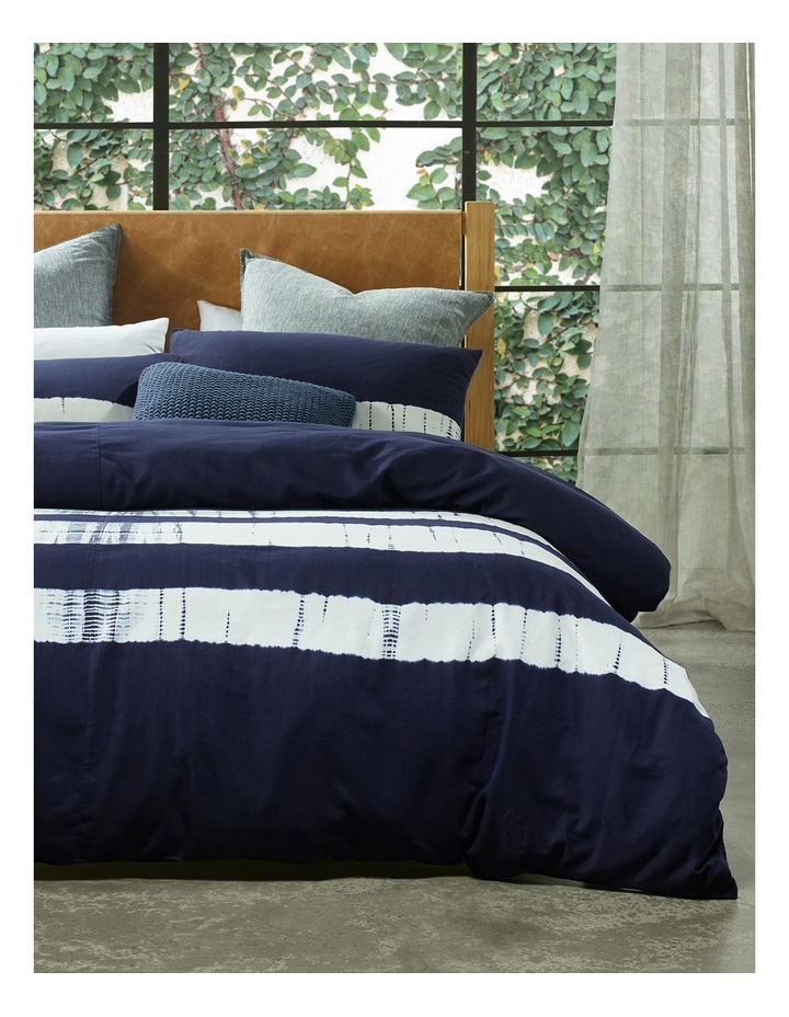 Keppel Tie Dyed Cotton Canvas Quilt Cover Set in Navy image 1