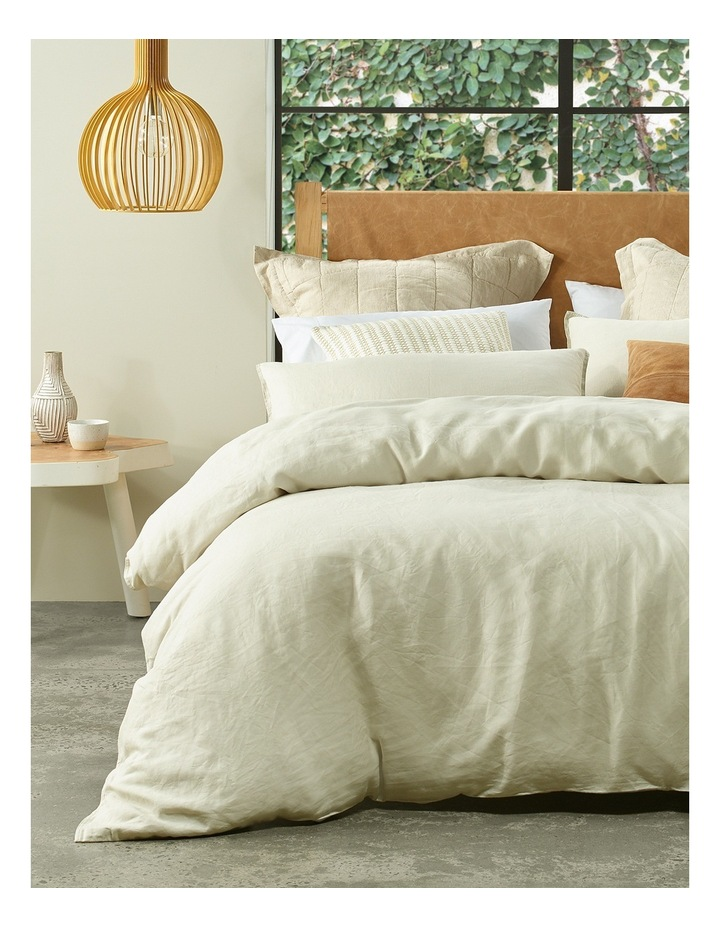Sandy Cape Linen Quilt Cover Set in Moonbeam image 1