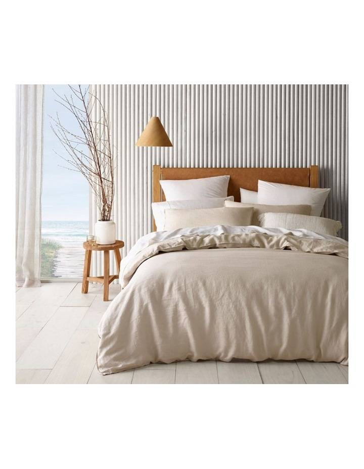 Sandy Cape Washed Belgian Linen Quilt Cover Set in Moonbeam image 1