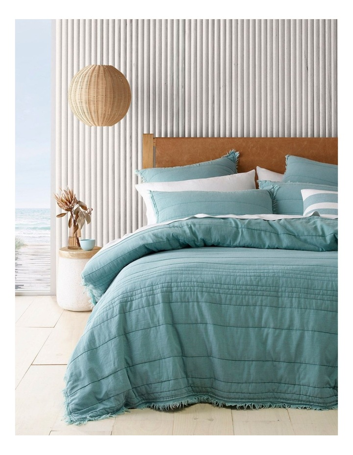 Burleigh Quilted Fringe Quilt Cover Set in Ocean image 1