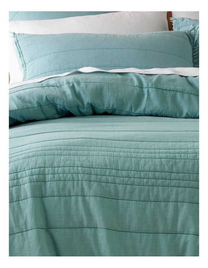 Burleigh Quilted Fringe Quilt Cover Set in Ocean image 2