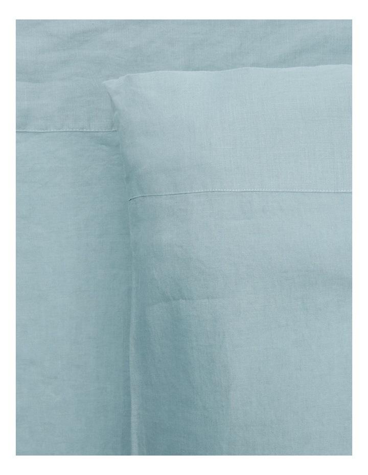 Sandy Cape Washed Belgian Linen Sheet Set in Ocean image 1