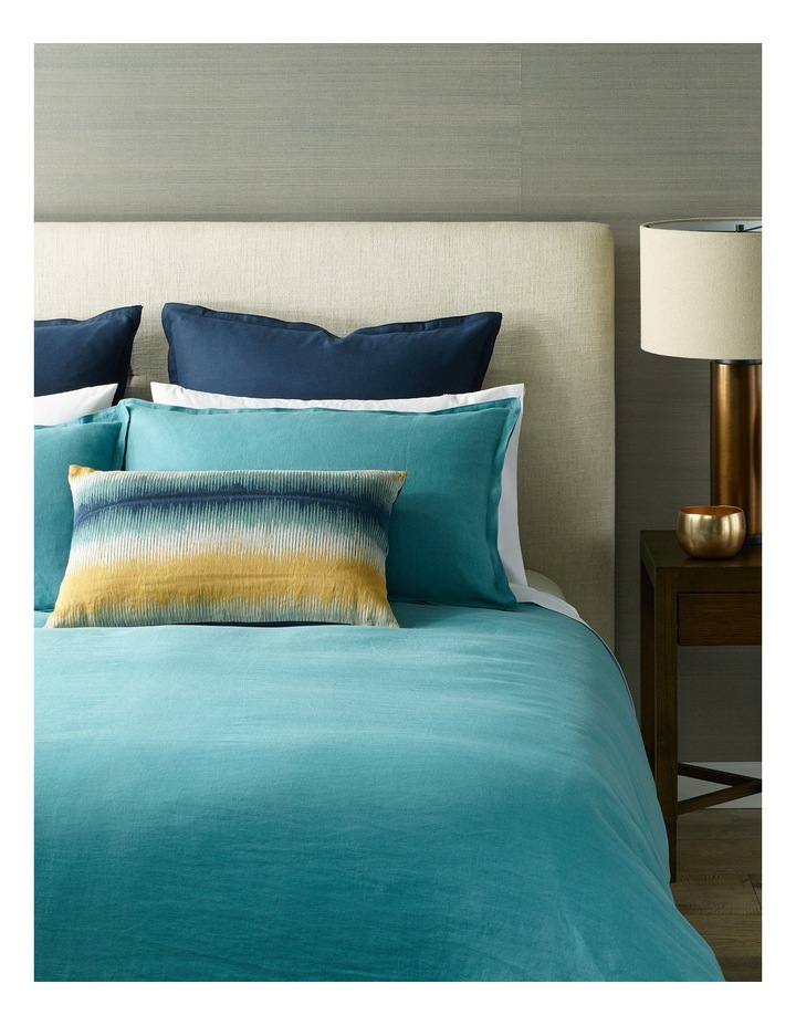 Reed Belgian Linen Quilt Cover Set in Brittany Blue image 1