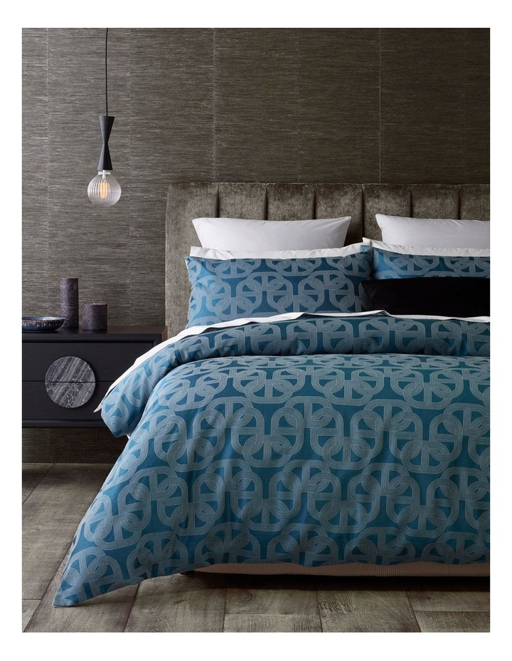 Arnett Jacquard Quilt Cover Set in Blue image 1
