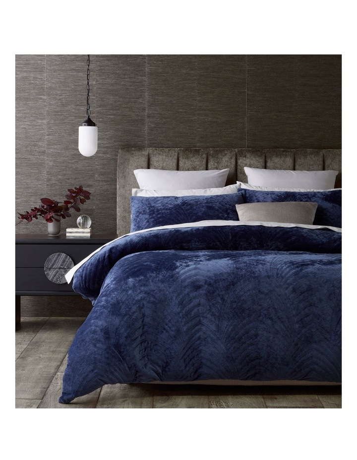 Ellis Quilted Velvet Quilt Cover Set in Blue image 1