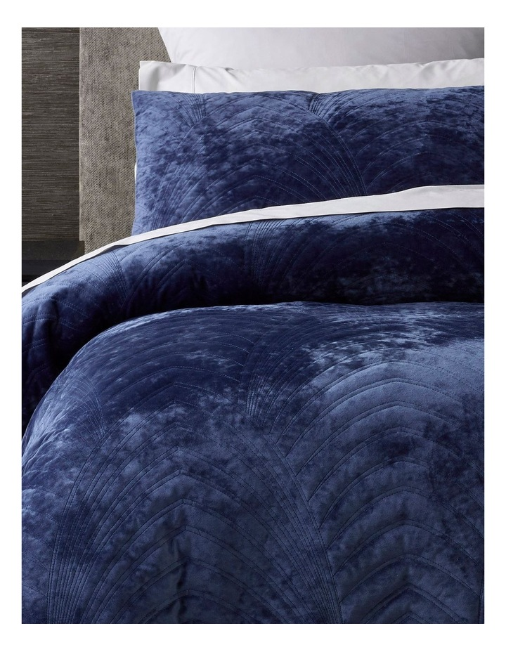 Ellis Quilted Velvet Quilt Cover Set in Blue image 2