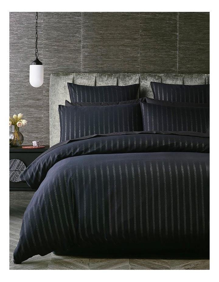 Obello Quilt Cover Set in Black/Silver image 1