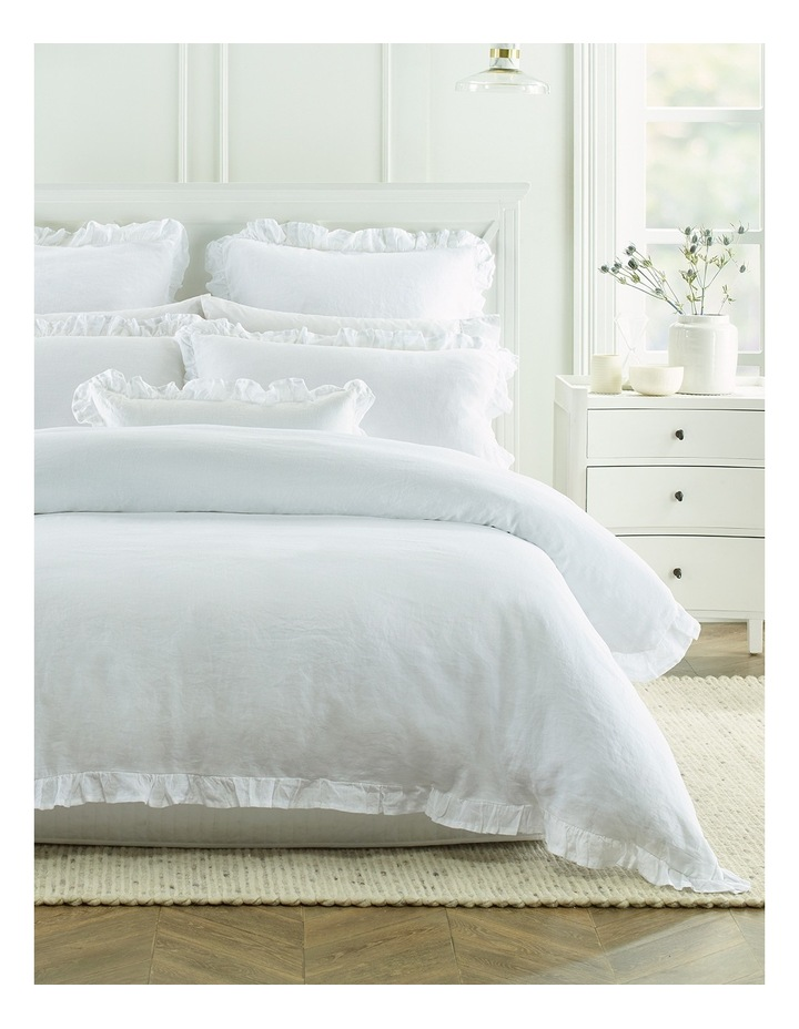 Camberly Ruffled Quilt Cover Set in White image 1