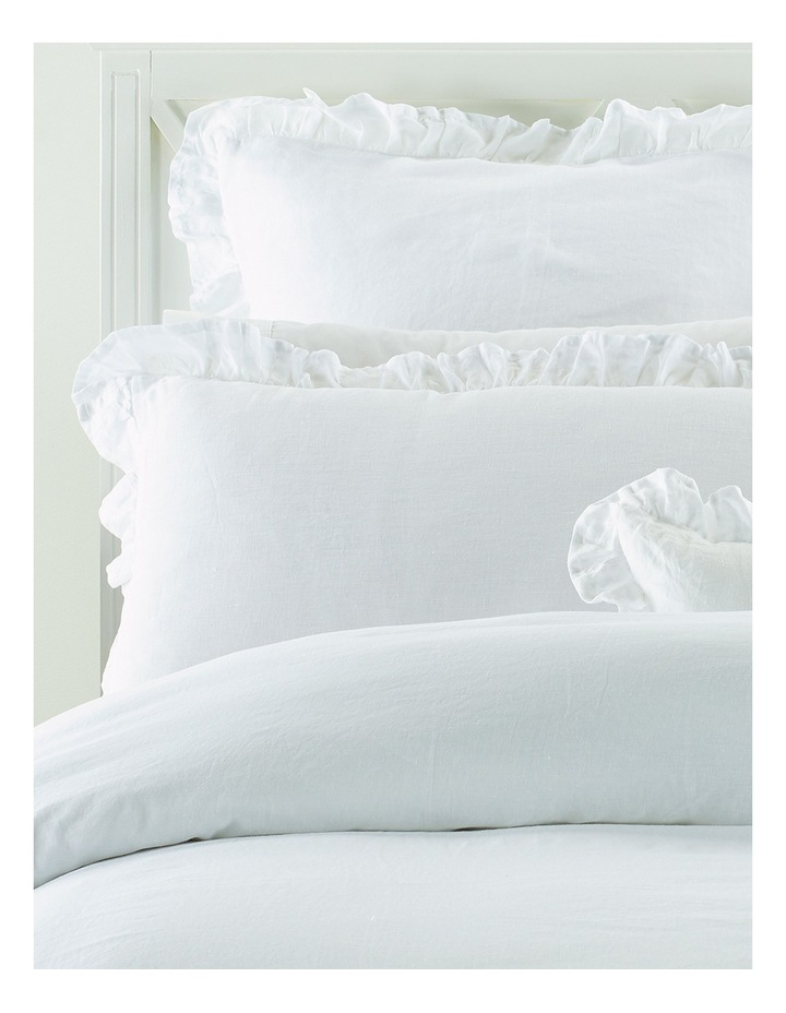 Camberly Ruffled Quilt Cover Set in White image 2