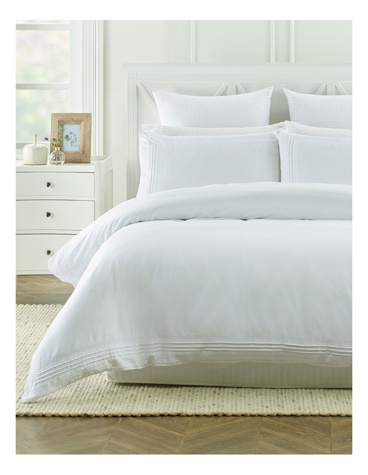 Marlow Pleated Ladder Quilt Cover Set in White image 1