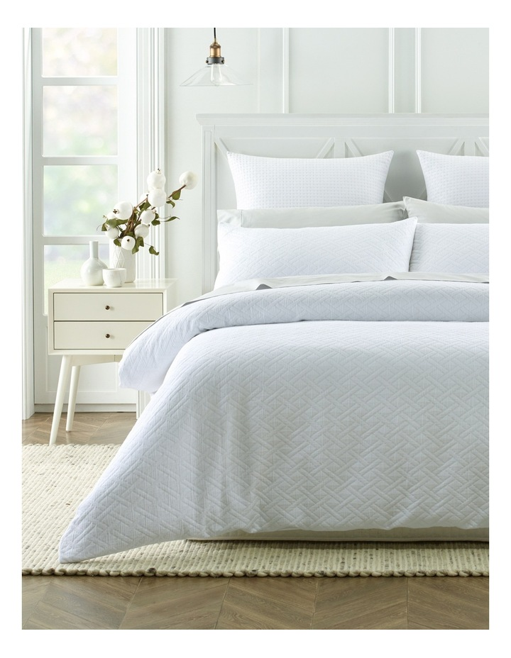 Darley Jacquard Quilt Cover Set in White image 1