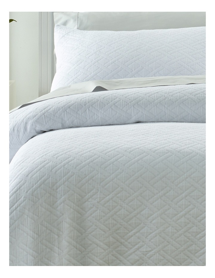 Darley Jacquard Quilt Cover Set in White image 2